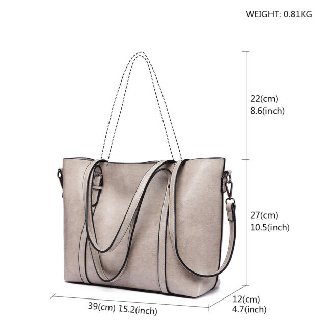 20df2371c4c Women Classic PU Leather Handbag Plain Large Shoulder Tote Bag Retro  Grey-e6709   eBay