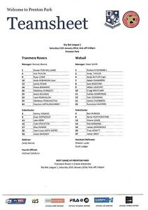 Teamsheet-Tranmere-Rovers-v-Walsall-2013-14