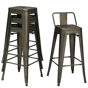Peachy Details About 4 Pcs Low Back Metal Counter Stool 30 Seat Height Bar Stools Modern Gun Unemploymentrelief Wooden Chair Designs For Living Room Unemploymentrelieforg