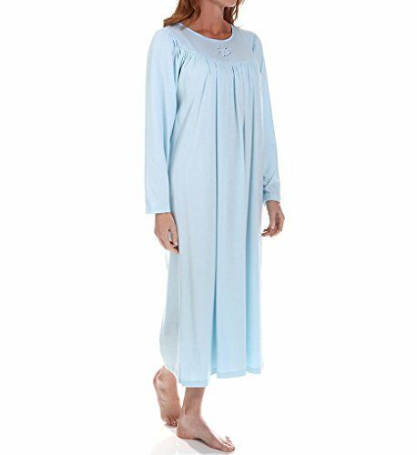 Calida Soft Cotton Long Sleeve Nightgown 33300 L Light bluee