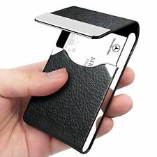 Business Card Holder Pu Leather Card Case Slim Pocket Magnetic Shut Black