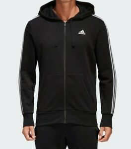 Details about adidas Essentials 3 Stripe Full Zip Hoodie Mens Black Sizes S 2XL S98786