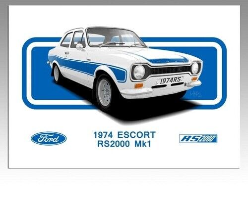FORD ESCORT MKI RS 2000 RS MEXICO RETRO POSTER PRINT CLASSIC 80/'s ADVERT A3