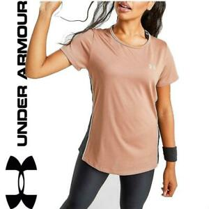 New-Under-Armour-Womens-Colour-Block-UA-Tech-T-Shirt-top-Bronze-gym-sports