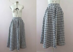 Vintage-80s-Cotton-Blue-Gingham-Skirt-Small-Buy-3-items-for-Free-Postage