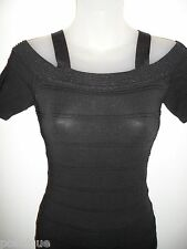 bebe XS Bandage Dress Off Shoulder Metallic Black Bodycon Cocktail Club Party