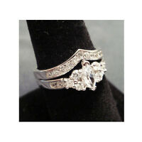 2 Ring Set Wedding Band Marquise Cut Silver Platinum Rhodium Cz Sz 5, 6, 8,9