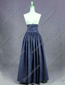 NAVY Edwardian Downton Abbey Walking Skirt Theater Steampunk Punk Outfit K187