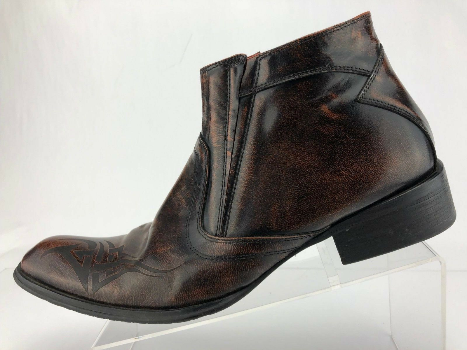 Robert Wayne Disturb Ankle bottes marron Leather Leather Leather Side Zip Casual chaussures Mens Sz 11 71a0aa