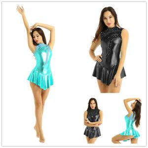 Women-Girl-Roller-Skating-Shiny-Metallic-Leotard-Bodysuit-Ballerina-Ballet-Dance