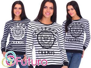 donna-a-righe-in-cotone-maglione-maglia-tuta-FELPA-MISURA-8-14-fz13