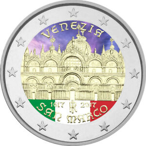 2-Euro-Gedenkmuenze-Italien-2017-coloriert-mit-Farbe-Farbmuenze-Venedig