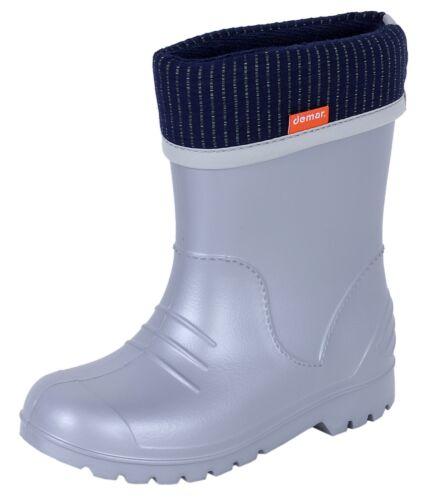 Demar Boys Girls Wellington Boots Rain Snow Wellies EVA Warm Liners  Grey