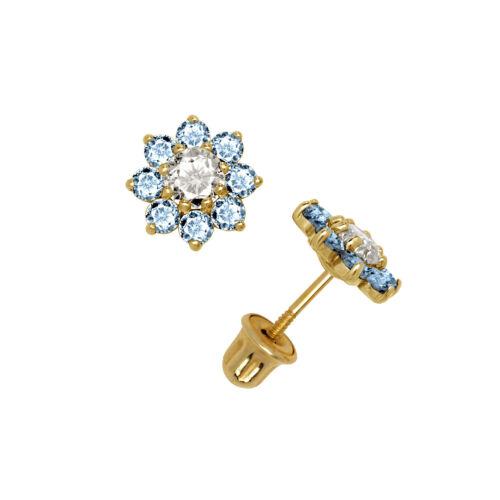 Flower Cluster Aquamarine Stud Earrings 14K Solid Yellow Gold Screw Back 6mm