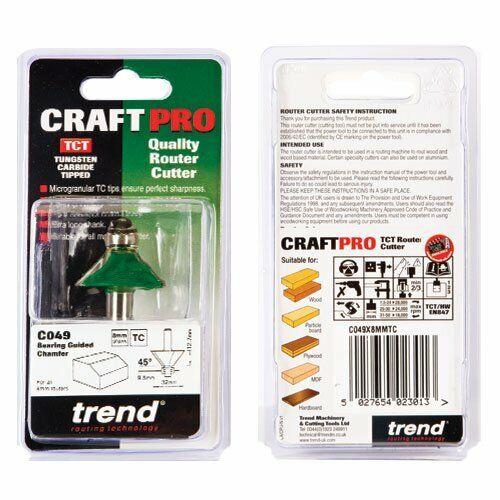 TREND C 049 X 8 CFGM CRAFT PRO Routeur Cutter guidée chanfrein Cutter 45 degrés x 12.7 mm C