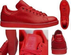 nuovo mens adidas originali stan smith adicolor scarpe rosso s80248