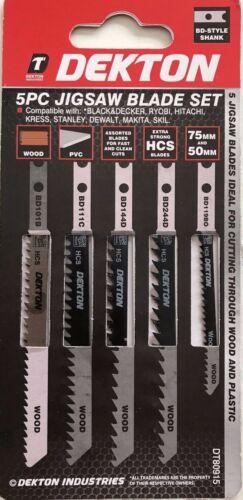 Dekton Jigsaw Blade 5pc Set-Stanley b/&d BOSCH DEWALT MAKITA HITACHI SKIL DT80915