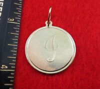 14 Kt Gold Ep Large(over 1) Round Initial Disc Letter I Pendant Charm