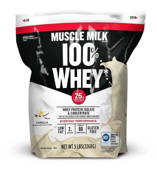 Muscle Milk Cytosport 100 Whey Protein Powder Isolate Vanilla 5 Lb Ziploc Bag