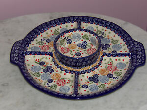 Polish-Pottery-UNIKAT-Chip-and-Dip-RelishTray-amp-Bowl-Paper-Lanterns
