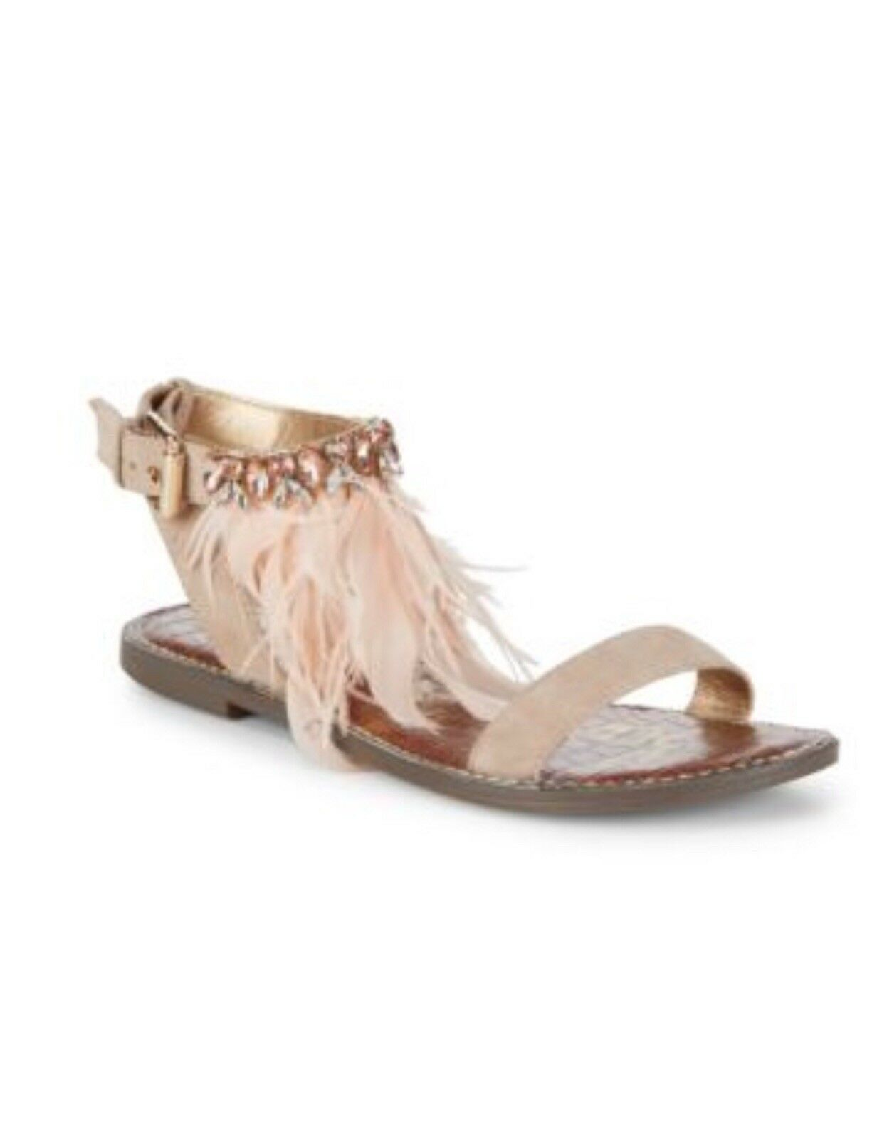 Sam Sandales Edelman Genevia Sandales Sam Größe 7.5 Blush Pink with feathers and embellishment 83616e
