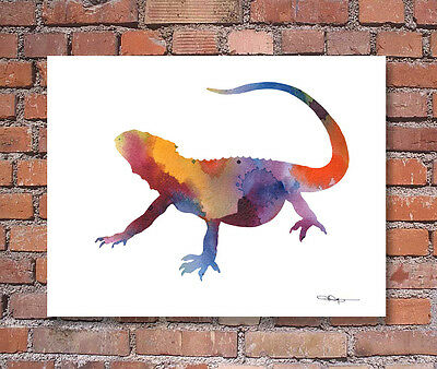 """Gecko Abstract Watercolor Painting 11/"""" x 14/"""" Art Print by Artist DJ Rogers"""