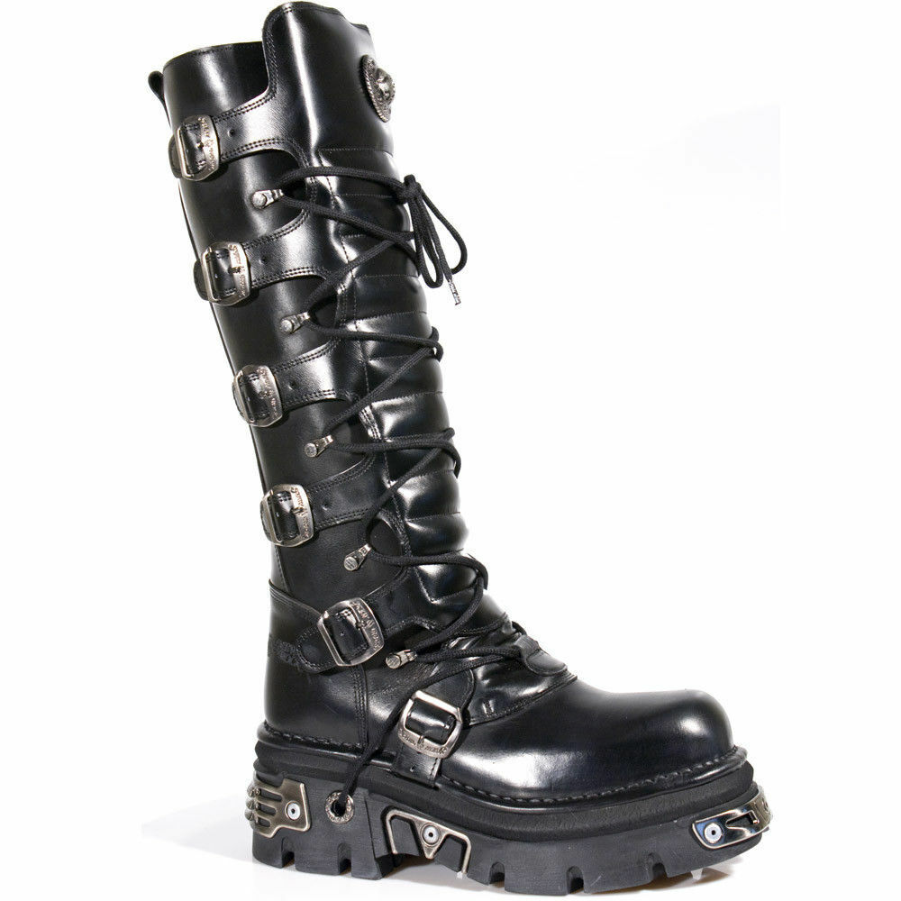 Newrock hombre cuero real Gótico Emo Punk Rock Nuevo 272-S1 negro de la rodilla botas Motorista
