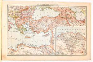 Cartina Geografica Mediterraneo Orientale.Carta Geografica Antica Mediterraneo Orientale Delta Nilo 1880 Old Antique Map Ebay