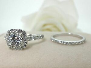 2.00 Ct Round Cut Moissanite Engagement Band Set Real 18K White Gold Ring Size 5