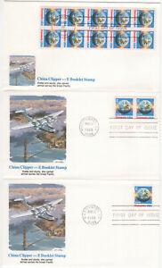 SSS-3-pcs-US-Fleetwood-FDC-1988-25c-China-Clipper-E-Booklet-BK10-Sc-2282