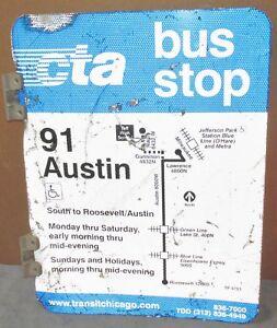 Vtg-2-Sided-CTA-Bus-Stop-91-AUSTIN-Chicago-Aluminum-Sign-24-x-18-S673