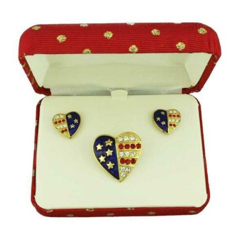Gold Single Patriotic Heart Brooch Pin and Earring Gift Set PRF353BS