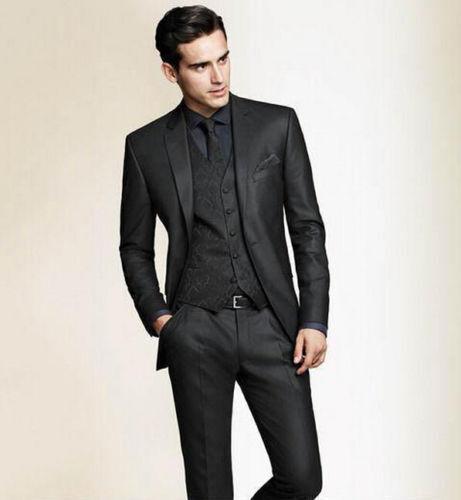 Slim Fit Black Men Groom Suit Tuxedos Formal Groomsmen Wedding suits Custom Made