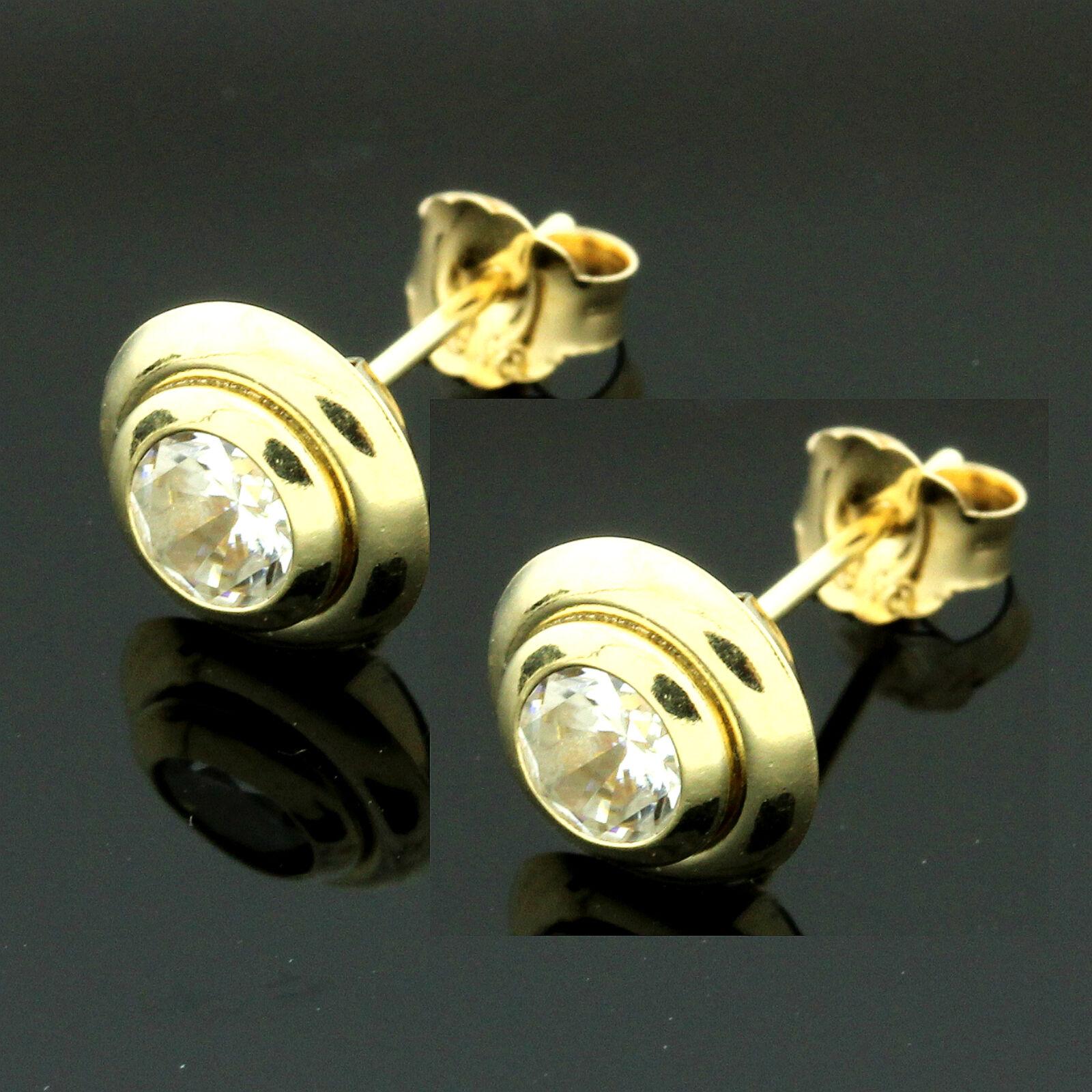 9ct Yellow gold Set Cubic  Zirconia Stud Earrings GIFTBOXED