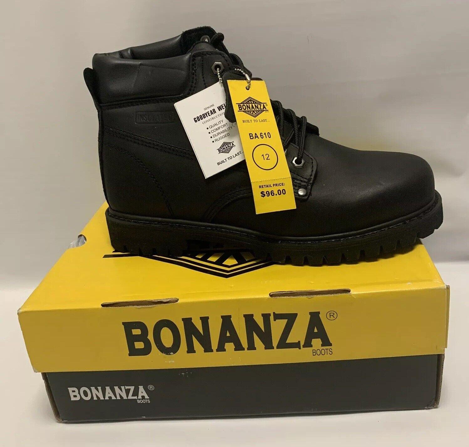 Nuevas botas para hombre trabajo Bonanza De Cuero Negro BA610 Goodyear Welt cómodo