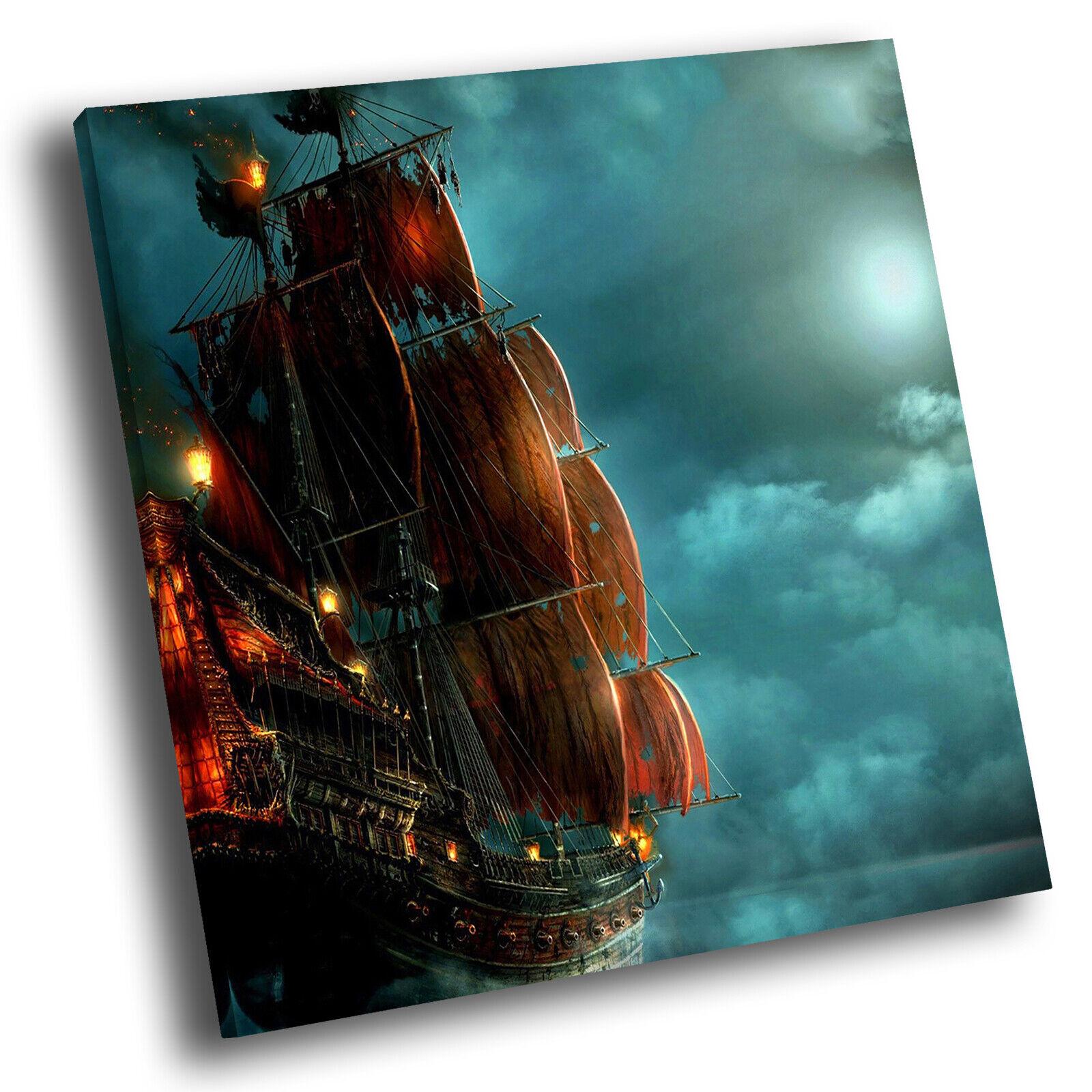 Blau Orange Ship Sea Square Abstract Photo Canvas Wall Art Large Picture Prints