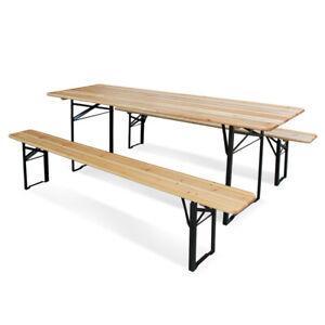 Tavoli E Panche Pieghevoli Legno.Dettagli Su Set Birreria Arredo Bar Tavolo E 2 Panche Pieghevoli In Legno 220x70x76h
