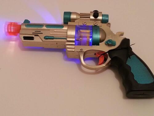 AK968 Kids Lampeggiante LED Light Up /& Suono Effetto Space PISTOL GUN Boy pistola giocattolo 2X