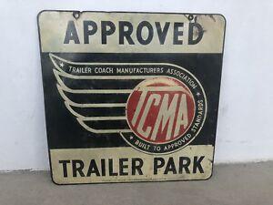 RARE-VINTAGE-TRAILER-PARK-SIGN-40-s-TRAILER-COACH-MANUFACTURERS-ASSOCIATION-TCMA