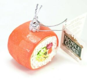 Salmon Sushi Glass Christmas Ornament 2 Inch Wide. NEW