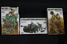 TAMIYA MINIATURES 1/35 SCALE GERMAN MACHINE GUN TROOPS & 7,5Cm ANTITANK GUN & US