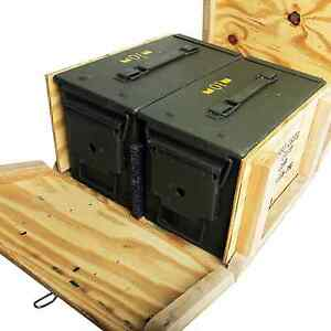 Image is loading 2-M2A1-50cal-5-56-Ammo-Cans-Ammo-  sc 1 st  eBay & 2 - M2A1 50cal 5.56 Ammo Cans/Ammo Box in Military Surplus Wood ... Aboutintivar.Com