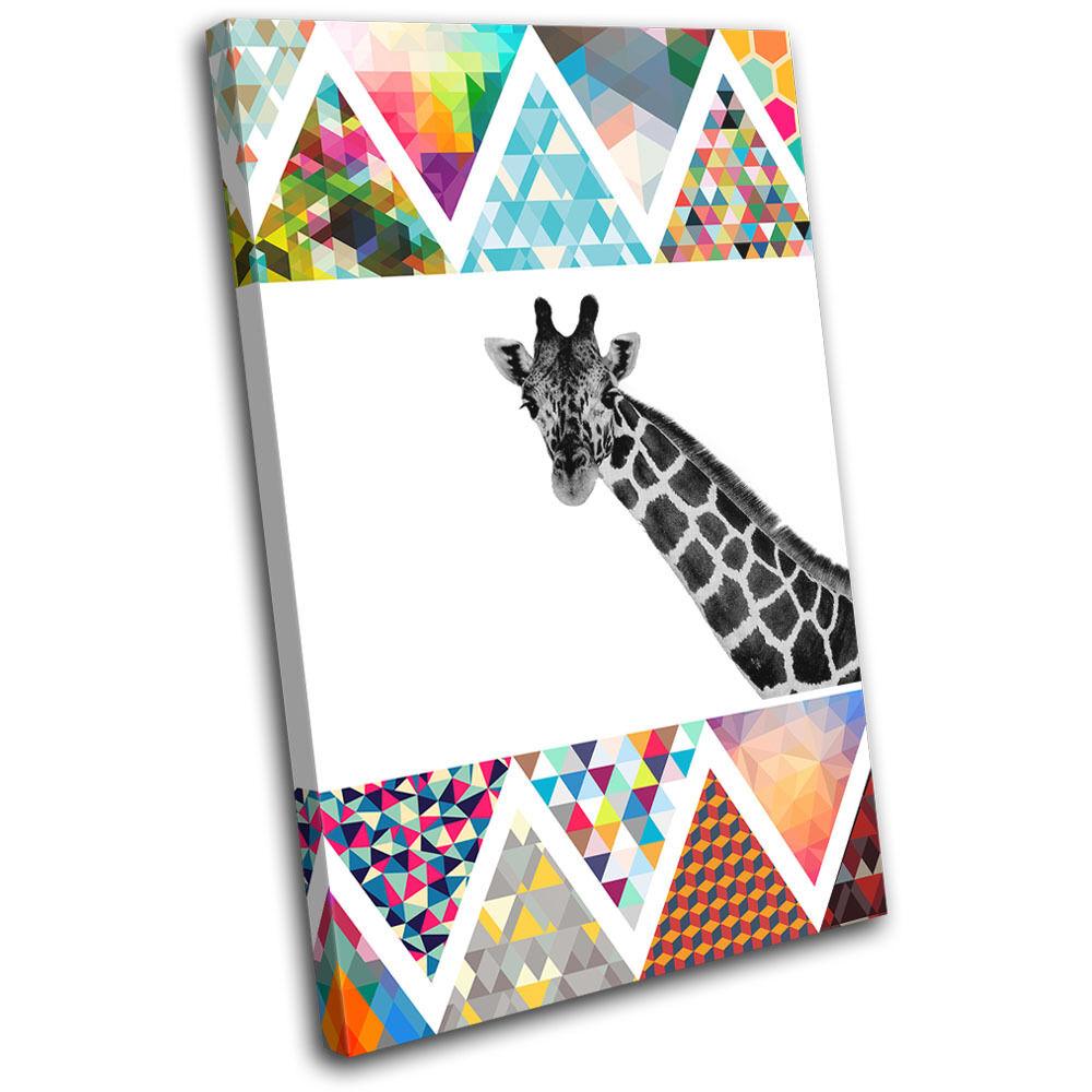 Giraffe Geometric Africa Africa Geometric Animals SINGLE LONA pared arte Foto impresion 1e3dbf