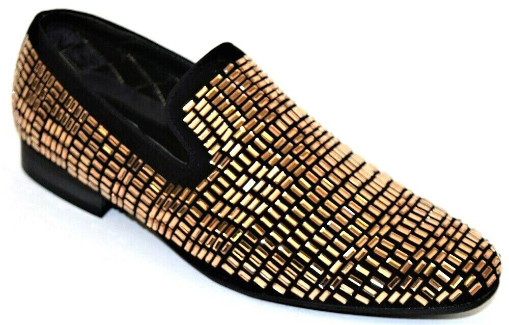Men's Dress Casual Fancy shoes Slip On Loafers Black gold Mirror Jewels Smoker