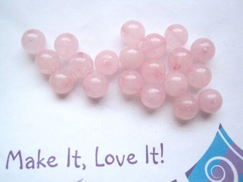 20 x ROSE QUARTZ Gemstone Beads 8mm or 6mm Round Healing Pink Smooth