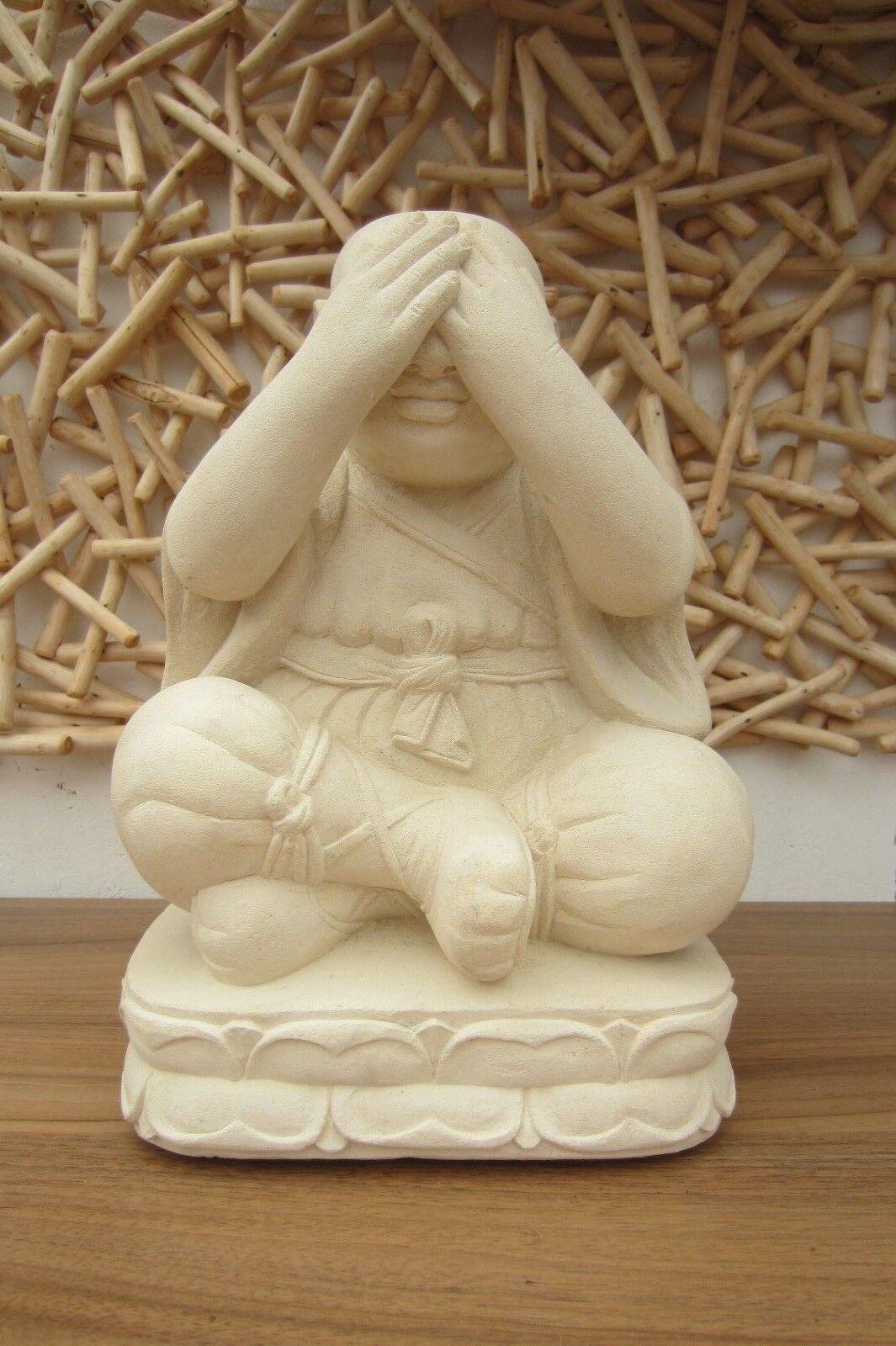MÖNCH 30CM SANDSTEIN SKULPTUR FIGUR STEIN DEKORATION BUDHA ASIA-STONE-KÖLN
