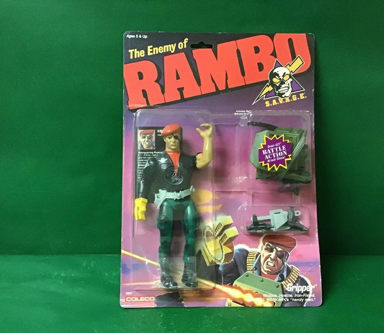 "1985-1986 The Enemy Of RAMBO ""GRIPPER"" NIC By Coleco"