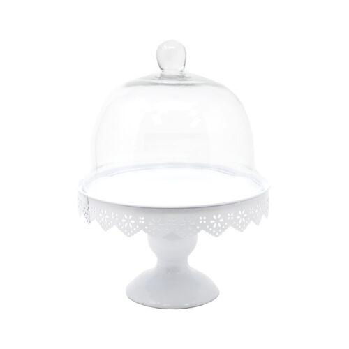 White 11-Inch Metal Cake Stand with Glass Dome Top
