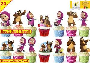 48 Masha And The Bear Birthday Cup Cake Edible Decorations Toppers