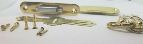 Full Mortise ROLL TOP DESK LOCK SET rounded plates brass Lock Catch antique keys